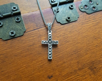 Sterling Silver 925 And Marcasite Cross Pendant