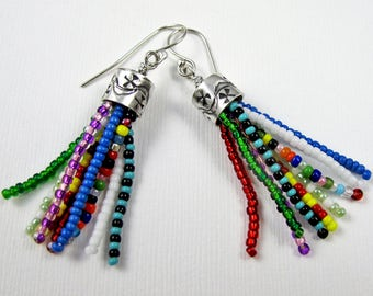 Beaded Tassel Earrings - Sterling Silver and Glass Seed Bead - Multicolor Handmade Tassel Earrings Boho Tassel Earrings
