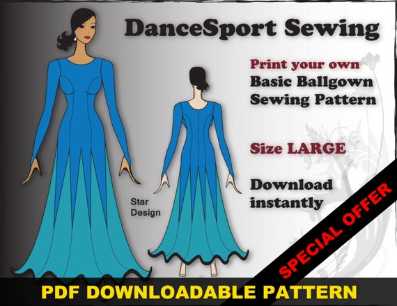 Ballroom and Latin Gown Sewing Pattern PDF downloadable SIZE