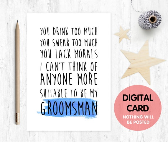 PRINTABLE groomsman card, will you be my groomsman printable, funny groomsman card, groomsman proposal printable, digital download