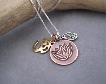 Small Charms, Big Message - Positivity - Peace Sign - Lotus Blossom - Yoga Charm -Yoga Jewelry - Peace Sign Necklace - Pendant