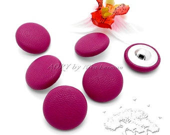 6pcs Fuchsia Leather Covered Buttons, 23mm Diameter