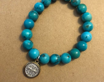 Saint Benedict Thick/Detailed Medal, Standard Size, Turquoise Howlite, Single Be Still By Caroline Stretch Bracelet