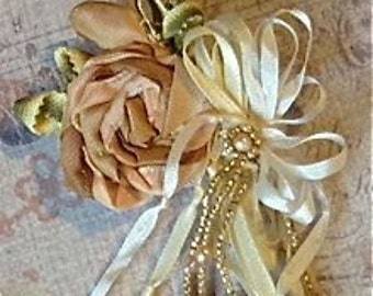Pale Pink 1920's Ribbon Work Flower with Ribbon and Vintage Seed Bead Cascade, Millinery Applique, Garter