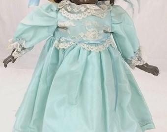 "Vintage 19"" JDK 221 Kestner Repro Googly Eyed African American Black Curly Hair Composite Leather Body Doll 18885"