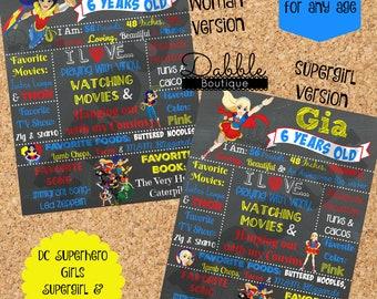DC Superhero Girls Birthday Stat Chalkboard/ Wonder Woman Birthday Chalkboard / Supergirl Birthday Chalkboard