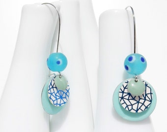 LONG sleepers with enameled sequin earrings