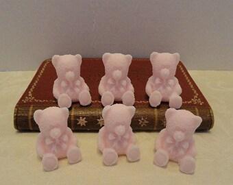 Teddy Bear set of 6 Decorative Handmade Soap  Choose Pink, Blue Yellow or Green