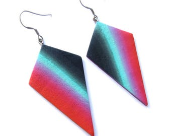 Geometric Earrings, Ombre Earrings, Gradient Earrings, Mint Earrings, Red Earrings, Big Earrings, Statement Earrings, Huge Earrings Fimo