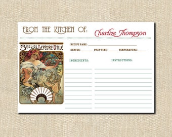 "ART DECO / NOVEAU Personalized Recipe Cards - (24) 4"" x 6"""