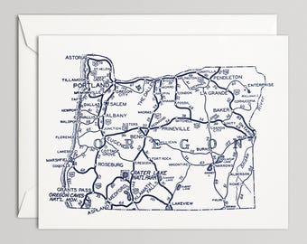 "Oregon Map Card, Blank Note Card with Envelope, Vintage Highway Map Art Card 1938, 4.5"" x 5.75"""
