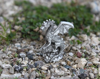 Hastings Pewter Lead Free Pewter Dragon Figurine  Fine Pewter  mythical  fantasy  small gift  Made in Michigan
