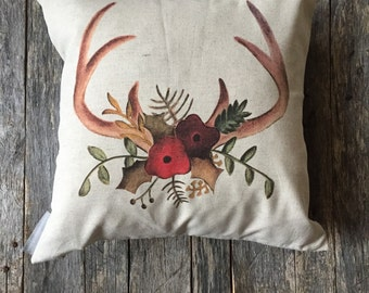 Hand Drawn antler Pillow Cover
