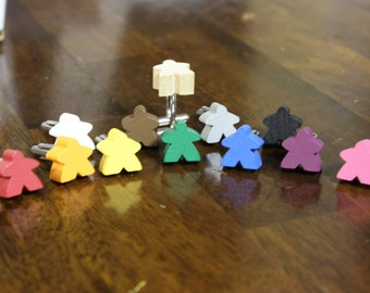 Meeple Cufflinks,  Board game accessories, wooden game pieces with custom colors, Gamer Cuff Links