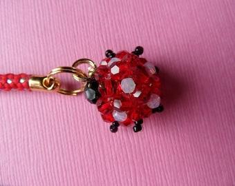 Ladybug - Swarovski Crystal Phone Charm