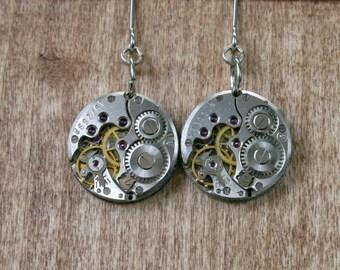 Steampunk Earrings with  Vintage Mechanical Watch Movement  , Steampunk Earrings , Steampunk jewelry , Clockwork  Movement earrings