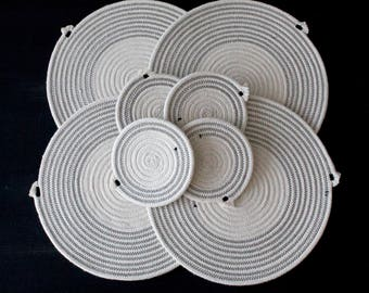 Cotton rope placemats in Black - matching coasters available // handmade table mats / coasters / tableware /