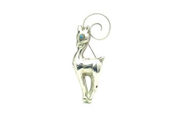 Gazelle Brooch Sterling Silver Large Antelope Animal Turquoise Eye Mexican Pronghorn Vintage 1940s Retro Minimalist Mexico Art Deco Jewelry