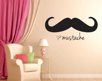 Mustache Wall Decal, Home Decor, Romantic Quote