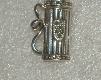 Sterling Silver Golfing Bag Brooch with Marcasite Stones