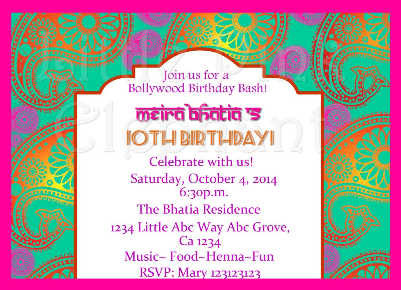 Indian invitation bollywood invitations Bollywood party
