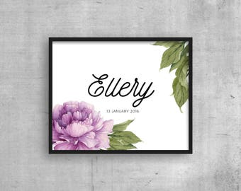 Instant download - Peony PERSONALISED name and birthday - personalized custom girls room print - Nursery print - wall art - date of birth