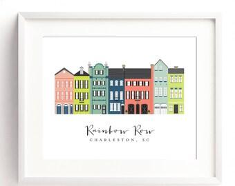 Rainbow Row Charleston Art Print 16x20 print; Charleston, SC Artwork