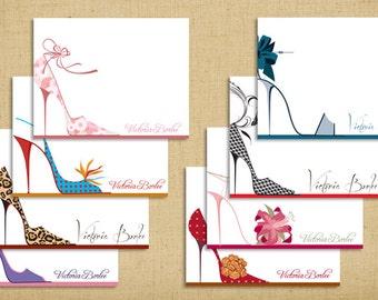 Stilettos Note Cards - stilettos heel Personalized Note Cards - Stilettos and sandals Flat Note cards - Stilettos Stationery