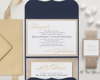 Navy and Gold Wedding Invitations with Glitter, Navy Blue and Gold Wedding Invites, Glitter Wedding Invite Set, Brandi