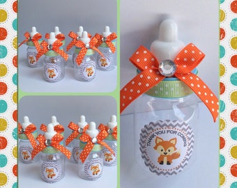 12 Fox baby shower baby bottles- fox baby shower- fox baby shower favors- orange and gray baby shower- baby fox favor- woodland baby shower