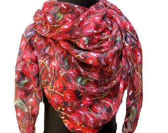 Fashion scarf/ cherry print scarf/ red scarf/ square scarf/ chiffon scarf/ light weight scarf/ scarf / gift ideas.