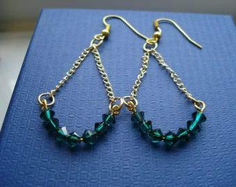 Dark Emerald green Swarovski elements crystals on gold chain drop earrings