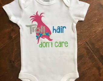 Troll hair, dont care baby bodysuit.