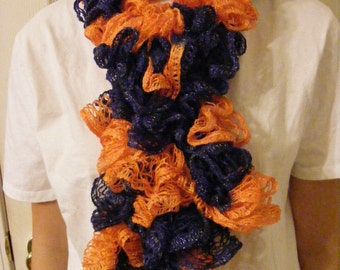Denver Broncos Scarf, Orange and Blue Scarf, Crocheted Scarf, Frilly Scarf