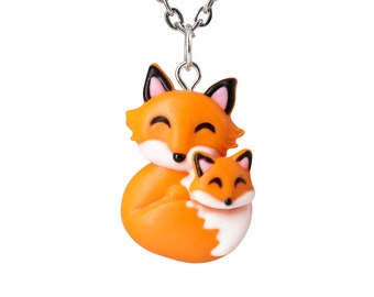 Mothers Day Gift Mama Fox and Baby Pendant. Mother Daughter Jewelry, Moms Birthday Gift, Moms Day Necklace Nursery