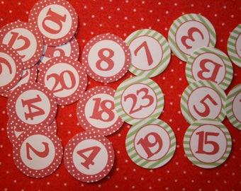 Set of 24 stickers figures in paper for Christmas or advent calendar