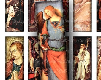 INSTANT DOWNLOAD Digital Collage Sheet Vintage Religious Antique Beautiful Paintings Saints Angels 1 x 3 Inch for Pendants Magnets (M55)