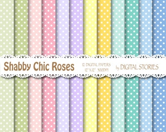 Shabby Chic Digital Paper SHABBY CHIC DOTS Background With Dots For Scrapbooking Invites Cards