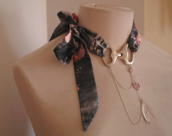Necklace with adjustable satin ribbon
