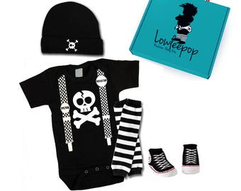 Rockstar Baby Kit - Skull Suspenders Onesie, hat, Sneaker booties, leg warmers & optional gift box