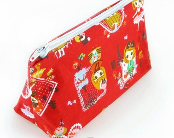 JULY PREORDER Cosmetic pouch bag with red lolita print japanese fabric make up case gift bag travel kit toiletry zipper kawaii cute