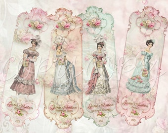 2 x 6 Jane Austen Bookmarks -  Digital Download - Printable  Digital Collage Sheet - Instant Download- Emma - Books