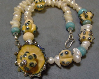 Lampwork and Pearl Beaded Necklace - Beach Themed Artisan Lampwork Bead and Keishi Pearl Necklace -Statement Necklace -SRAJD