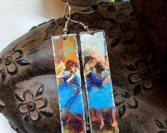 Degas Ballerina Upcycled Tin Lightweight Earrings 925 Sterling Silver Ear Wires Boho Hippy Art Lover Wearable Art Boho Hippy Unusual Gift