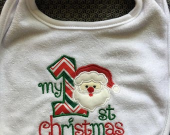 Embroidered and Appliqued My 1st Christmas Bib for girls or boys with Santa Claus