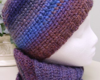Crocheted hat, mobius scarf and headband - women - men - teen - variegated colors