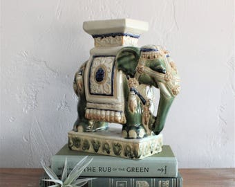 Vintage Elephant Plant Stand, Ceramic Plant Holder Chinoiserie Decor, Coffee Table Decor, Mantel Decor, Pillar Candle Holder, Elephant Decor