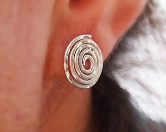 Sterling Silver Stud Spiral Earring, Organic Silver Swirl