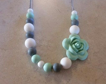 Silicone beaded Teething Necklace, White, Gray and Mint Green, Teething Necklace for Mom, Sensory Beads, Teething Beads, BPA Free, Fidget