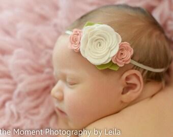 felt flower headband  - newborn/baby/toddler headband - blush and ivory headband - newborn photo prop